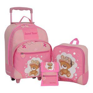 Keanu Kindertrolley 3er SET Reisegepäck stabil, höhenverstellbarem Griff, Reißverschlussfach, Reisekoffer Rucksack Brustbeutel (Pink - Sweet Bear)