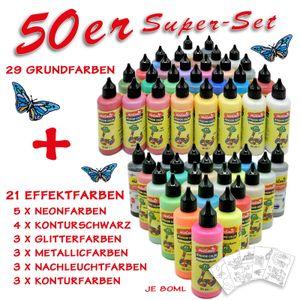 Window Color 50 Farben SUPER-Set Fenstermalfarbe Fensterbild Malfarbe Glasfarbe