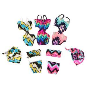 5set Sommer Strand siamesische Badebekleidung Bikini Badeanzüge für Barbie-Puppe