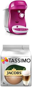 CYE TAS1001 Tassimo Happy Kapselmaschine,1300 W, groe Getrnkevielfalt, TasWild purple + Tassimo Jacobs Typ Latte Macchiato Classico, 5er Pack Kaffeespezialitt T Discs (5 x 8 Getrnke)