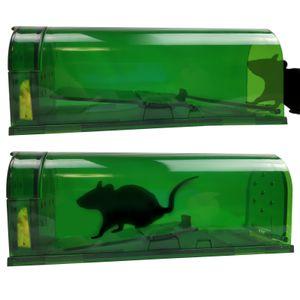 2 Stück Mäusefalle Lebendfalle Wiederverwendbar Mausefalle lebend Lebend-Falle für Mäuse aus Kunststoff Kastenfalle Köderfalle tierfreundliche Tierfalle Mäuse Fallen Mausefallen