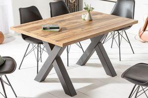 Industrial Esstisch MONTREAL 140cm Eichenoptik mit schwarzen X-Beinen Küchentisch Wohnzimmertisch