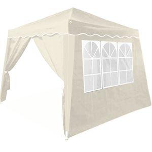 Faltpavillon 3x3 m + 4 Seitenwände mit Seitenfenster, Farbe:creme