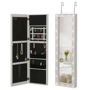 HOMCOM LED Schmuckschrank Aufhängbarer 2 in 1 Schmuckregal Spiegelschrank Türmontage MDF Weiß 36,6 x 8 x 120 cm