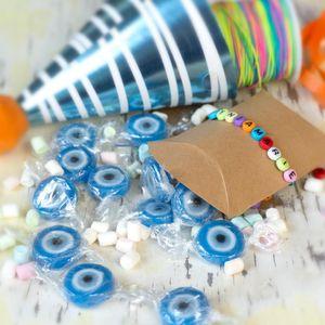 Food Crew Türkisches Auge Bonbons blau - 500 g Rocks Bonbons handgewickelte Süßigkeit Großpackung - Nazar Boncugu als Tisch Deko zu Hochzeit, Valentinstag, Muttertag oder Zuckerfest