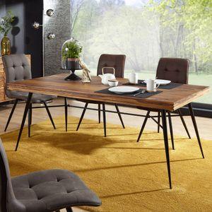 WOHNLING Esszimmertisch WL5.581 Holz 200x77x100 cm Sheesham Massiv | Esszimmertisch Massivholz mit Design Metall Beinen | Holztisch Tisch Esszimmer | Küchentisch Holzplatte mit Metallgestell