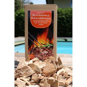 SmoFi Buchenholz Premium Räucherchips 1Kg 5mm-60mm // Chips Buche zum Smoken und Räuchern // BBQ // Grillen // 100%// Eigens entwickelte AIRCUT Technologie
