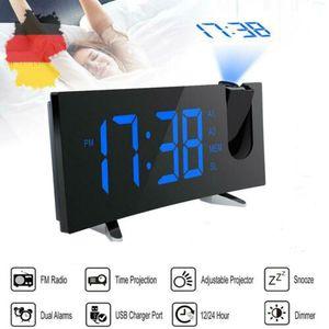 Digital Radiowecker mit Projektion Uhrenradio Funkwecker Gebogener LED Wecker