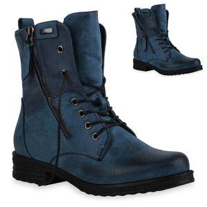 Mytrendshoe Damen Schnürstiefeletten Leicht Gefüttert Blockabsatz Stiefeletten 835417, Farbe: Blau, Größe: 39