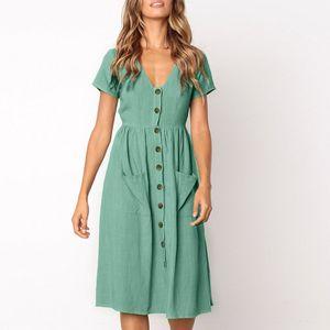 Damen Casual einfarbig Kurzarm V-Ausschnitt Tasche Geknöpftes A-Linien Kleid Farbe:Light blue,Größe:XL