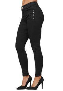 Damen Denim Stretch Jeans High Waist Skinny Fit Röhrenjeans Big Size Hose Übergröße Glitzer Steine, Farben:Schwarz, Größe:46