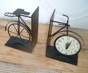 Set dekorative Buchstützen mit Uhr, Fahrrad, Eisen, antikbraun