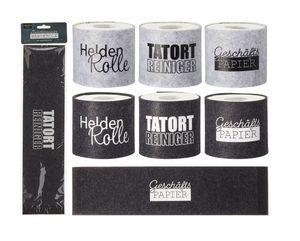 3 Stück Toilettenpapier Banderole in hellgrau mit verschiedenen Sprüchen