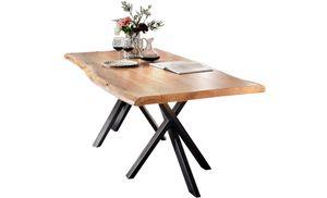 SIT Möbel Baumkante-Esstisch | 160 x 85 cm | Platte 36 mm Akazie natur | Stahlgestell schwarz | B 160 x T 85 x H 76 cm | 15000-11 | Serie TABLES & CO