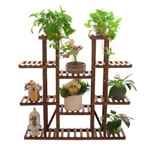 WISFOR Blumenregal Holz, EXTRA GROß Blumentreppe 11 Ebenen, Pflanzentreppe Blumenständer, 115×25×116cm
