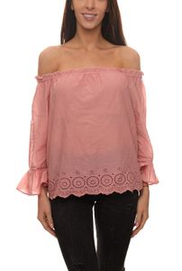 ONLY Skyla Carmen-Shirt verspieltes Damen Ausgeh-Shirt Hippie-Style Rosa, Größe:40