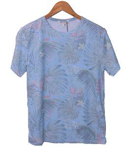 REVIEW Kinder Sommer-Shirt sommerliches T-Shirt mit tropischem Allover-Print Hell-Blau, Größe:152