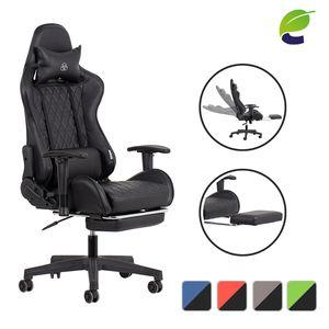 ecoMI - Gaming Stuhl mit Fußstütze und Wippfunktion Racing bis 150 kg Chefsessel Armlehnen Bürostuhl Drehstuhl Computerstuhl Schreibtischstuhl Sportsitz Gamingstuhl - Schwarz