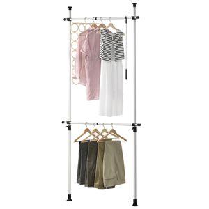 [en.casa]® Teleskop Garderobe Kleiderstange - Größe verstellbar - Garderobenständer Stange Kleiderschrank Kleiderhänger