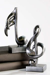 Moderne Skulptur Deko Objekt Music anthrazit Notenschlüssel und Note