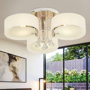 LED 3 Köpfe Kronleuchter Kristall Deckenleuchte 3 Licht Pendelleuchte für Schlafzimmer E27  Modern 7W
