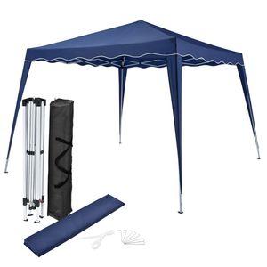 Juskys Faltpavillon Vivara 3x3 m – Pop-up Pavillon höhenverstellbar, UV50+ & wasserabweisend – Gartenzelt mit Tasche – Partyzelt für Garten blau