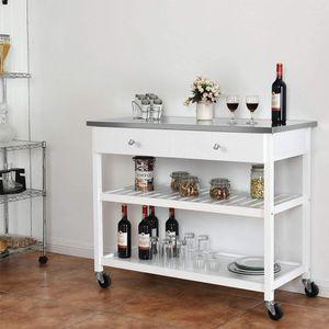 Sideboard Küchenwagen Küchenschrank Servierwagen mit 2 Schubladen und Ablagen Weiß 100x45x92cm Multi-Purpose