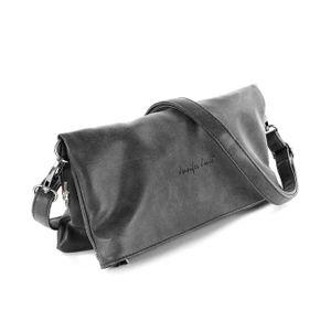 Jennifer Jones 2in1 Clutch Kunstleder Tasche Damen Abendtasche Umhängetasche grau - inkl. Feenanhänger D2OTJ800K