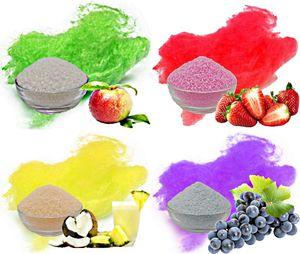 Aromazucker für bunte Zuckerwatte 4x250g Set mit Geschmack | Apfel - Grün, Erdbeer - Rot, Pina Colada - Gelb, Traube - Lila | Farbzucker Zucker für Zuckerwatte Zuckerwattemaschine Zuckerwattezucker
