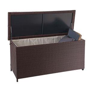 Poly-Rattan Kissenbox HWC-D88, Gartentruhe Auflagenbox Truhe  Premium braun, 63x135x52cm 320l