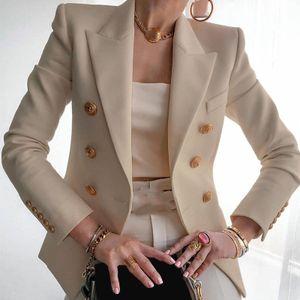 Elegante Business Office Arbeit Frauen Lady Solid Button Anzug Jacke Mantel Outwear Größe:M,Farbe:Ocker
