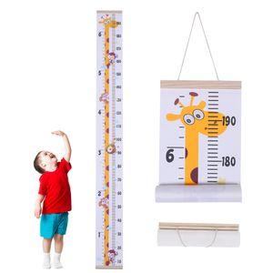 Giraffe Kinder Messlatte Messleiste Kinderzimmer Deko Holz Braun H163xB20cm, Kinderhöhe Stab Wandbehang Kinderzimmer Dekoration