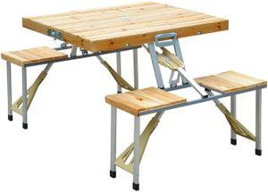 Sitzgarnitur höhenverstellbarer Tisch mit vier Stühlen Campingtisch klappbar