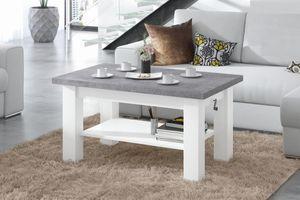 Design Couchtisch Tisch Astoria Beton Betonoptik / Weiß matt stufenlos höhenverstellbar 57 - 69cm ausziehbar 110 - 150cm mit Ablagefläche Esstisch