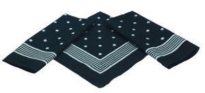 Betz 3er Pack Nickituch Bandana Richtfesttuch Halstuch klassisches Punktemuster Größe 55 x 55cm, Farbe schwarz - blau