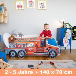 Alcube Feuerwehr Lkw Kinderbett 70x140 cm mit Matratze und Lattenrost Jugendbett Juniorbett Spielbett - Autobett in Rot Kinderbetten