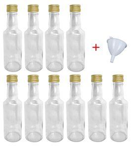 Glasflaschen 200 ml mit Schraubverschluss zum selbst Befüllen für Öl Likör Schnaps Bier Wasser Flasche leere Flaschen inkl. Trichter, Stückzahl:10x