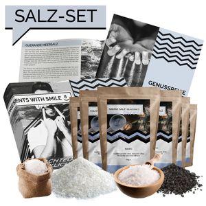 Salz Probierset Natursalze der Welt Geschenkbox 360g | Salz Weltreise Geschenkidee Geschenkset für Frauen Männer Koch Köchin | Salz Box Geschenk Box Geburtstagsgeschenk Präsent Probierpaket 6x60g