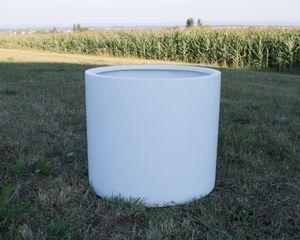 Pflanzkübel Fiberglas, zylindrisch D60xH50cm perlmutt weiß.