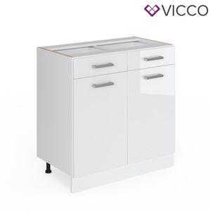 Vicco Schubunterschrank 80 cm ohne Arbeitsplatte Küchenschrank Unterschrank Küchenunterschrank Küchenzeile