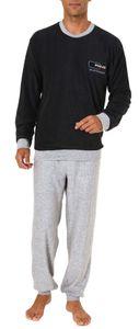 Herren Frottee Pyjama lang mit Bündchen - 61692, Farbe:anthrazit, Größe:52