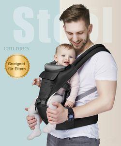 Bauchtragen, Treppy baby Carrier für 3.5-20kg ,Ergonomische Babytrage Bauchtrage, Leichtes Tragen,Dunkelgrau