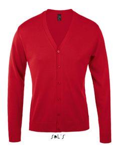 Golden Men V-Neck Knitted Cardigan - Farbe: Red - Größe: L