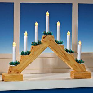 LED Lichterbogen Holz Schwibbogen Weihnachtsbogen batteriebetrieben Lichterbogen