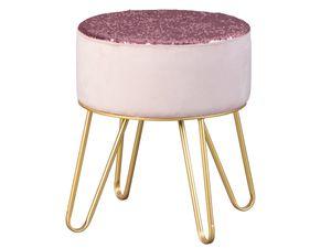 Design Sitzhocker mit Wendepailletten Hocker Samt altrosa Fußgestell aus Metall
