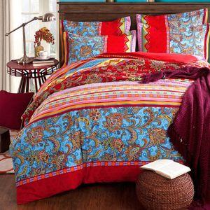 Boho Vintage bettwäsche Indischen Mandala Böhmisch Rot 155x220cm Bettbezug Wendebettwäsche Set mit Kissenbezüge 80x80 cm