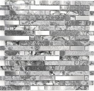 Mosaikfliese Transluzent Edelstahl grau Verbund Glasmosaik Crystal Stein Stahl grau MOS87-MV778