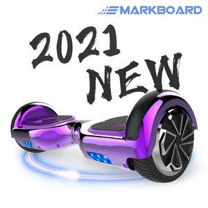 MARKBOARD Hoverboard,Elektro Scooter 6,5 LED E-Balance Scooter mit Motorbeleuchtung und Bluetooth chrome lila E-Skateboard Elektroroller