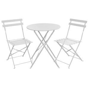 SVITA Bistro-Set 3-teilig Garten-Set Garnitur Metall-Möbel Stuhl Tisch Klapp-Möbel Balkon-Set Weiß