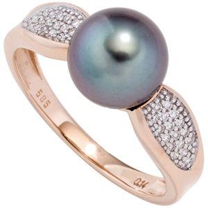 JOBO Damen Ring 585 Rotgold 1 Tahiti Perle 34 Diamanten Brillanten Perlenring Größe 58